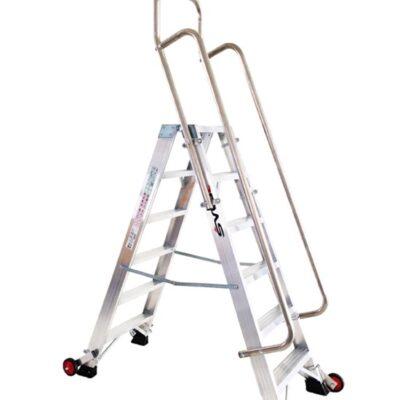 escalera doble con barandilla